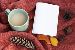 Cup of coffee with an autumn leaf, notepad and cones on a knitted sweater close-up, top view, copy space stock photos