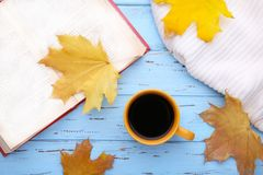Cup of coffee with autumn leaves and old book on blue background stock image