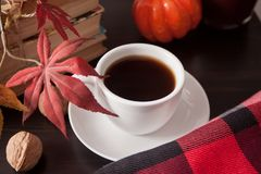 Cup of coffee, autumn leaves, old books, pumpkin and blanket on the table. Autumn harvest. Autumn concept