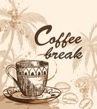 Cup of coffee. Background with cup of coffee, coffee beans and palm tree. Vintage style. Coffee break lettering Royalty Free Stock Image