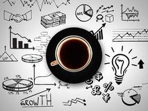 Cup of coffee on background of business strategy Royalty Free Stock Photo