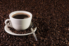Cup of coffee on a background of coffee beans Royalty Free Stock Image