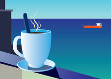 Cup of coffee on the background of the sea and sailboat Stock Photo