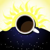Cup of coffee,background-sun and starry sky vector illustration