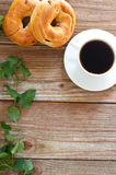 Cup of Coffee with Bagels Royalty Free Stock Photos