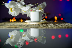 Cup of coffee on a bamboo napkin Royalty Free Stock Photos