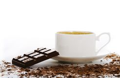 Cup of coffee with bar of chocolate Stock Photography