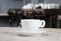 Cup of coffee on the bar Stock Photos