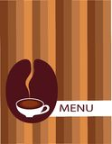 Cup of coffee with bean menu Stock Images