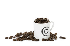Cup of coffee beans. Royalty Free Stock Images