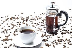 Cup of coffee with beans Stock Images