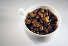 Cup with coffee beans. Cup of coffee, white cup with coffee beans Royalty Free Stock Images