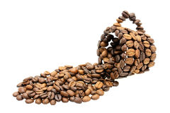 Cup of Coffee Beans. A cup made of coffee beans on white background Stock Photos