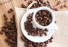 Cup of coffee. Coffee beans Stock Photography