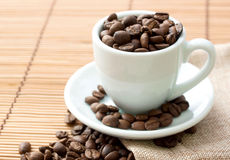 Cup of coffee. Coffee beans Stock Images