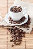 Cup of coffee. Coffee beans Stock Photo