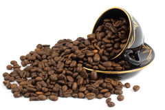Cup and Coffee beans. Background Stock Photos