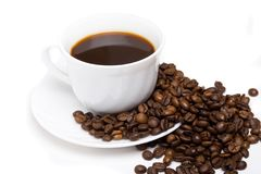 The cup of coffee and beans 9 royalty free stock photos