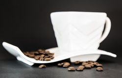 Cup of Coffee. With Coffee Beans Royalty Free Stock Photos