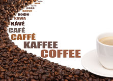 Cup of coffee beans around on a white background. Coffee beans with subtitles on white background Royalty Free Stock Images