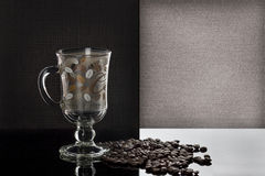 Cup of coffee. On coffee beans background Royalty Free Stock Photo