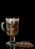 Cup of coffee. On coffee beans background Stock Photo