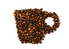 Cup from coffee beans. Beautiful abstract background Stock Photo