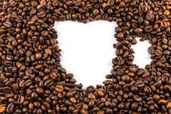 Cup from coffee beans. Beautiful abstract background Stock Images