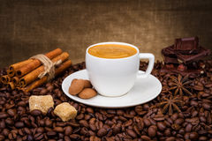Cup of coffee with beans, cinnamon and chokolate. A cup of coffee with coffee beans, cinnamon sticks and chokolate Royalty Free Stock Photo