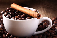 Cup with coffee beans and cinnamon stick Stock Photography