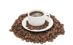 Cup of coffee with beans coffee Royalty Free Stock Photos