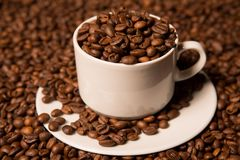 Cup with coffee beans on a dark background Royalty Free Stock Images