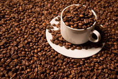 Cup with coffee beans on a dark background Stock Photo
