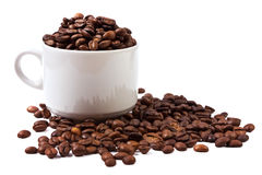 Cup of coffee beans isolated Stock Images