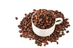 Cup of coffee beans isolated Stock Photo