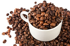 Cup of coffee beans isolated Royalty Free Stock Photo