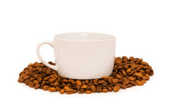 Cup and coffee beans isolated Stock Image