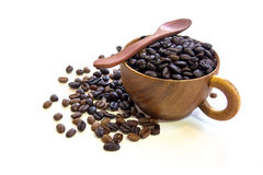 Cup with coffee beans isolated on white background. Cup with coffee beans isolated Royalty Free Stock Photo