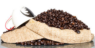 Cup coffee beans Stock Photography