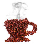 Cup from coffee beans with smoke isolated Stock Photo