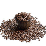 Cup of coffee beans - stock photo Stock Photos