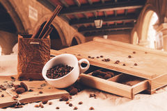 Cup of coffee beans at summer journey Stock Photo