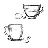 Cup of coffee with beans, tea and sugar. Elegant porcelain and glass cups of coffee and tea with sugar cubes and roasted coffee beans, isolated on white Vector Illustration