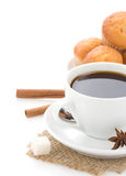 Cup of coffee with beans on white Stock Image