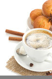 Cup of coffee with beans on white Royalty Free Stock Photo