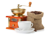 Cup of coffee and beans on white Royalty Free Stock Photo