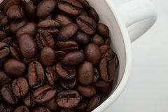 A cup and coffee beans. On white background Stock Image