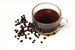 Cup of coffee and beans. With white background Stock Images
