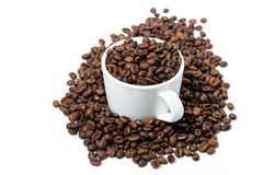 Cup with coffee beans on white background. Horizontal Stock Photography
