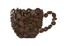 Cup of coffee beans on white background. Render cups from coffee beans isolated on white background vector illustration